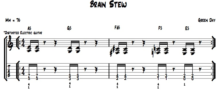 Easy Songs 1 - Brain Stew   Self Taught Guitar Lessons